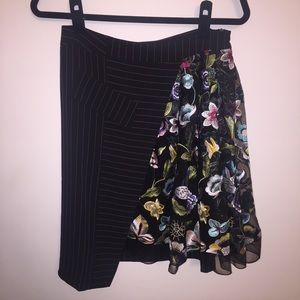 NWOT Save the Queen! Pinstripe and Floral Skirt